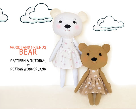 Woodland Friends Bear - PDF doll sewing pattern and tutorial