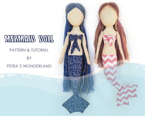 Mermaid doll - PDF doll sewing pattern and tutorial