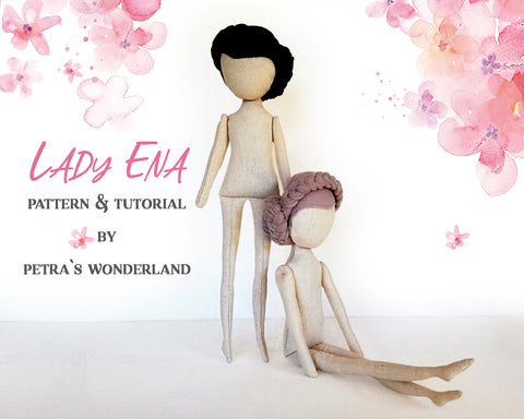 Lady Ena Doll Body 18 inch - PDF sewing pattern and tutorial