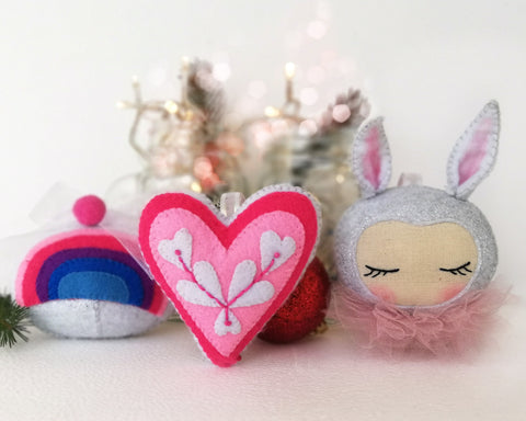 Christmas Ornaments - PDF doll sewing pattern and tutorial