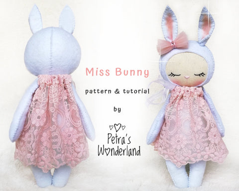 Miss Bunny - PDF doll sewing pattern and tutorial