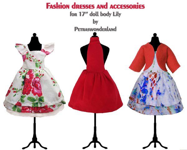 Set of three dresses, jacket and boots for doll 17 inch - PDF sewing pattern and tutorial