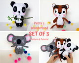 Set of 3 PDF Tiger, Panda and Koala - Sewing Patterns and Tutorials