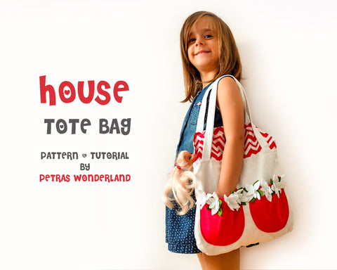 House Tote Bag - PDF doll sewing pattern and tutorial