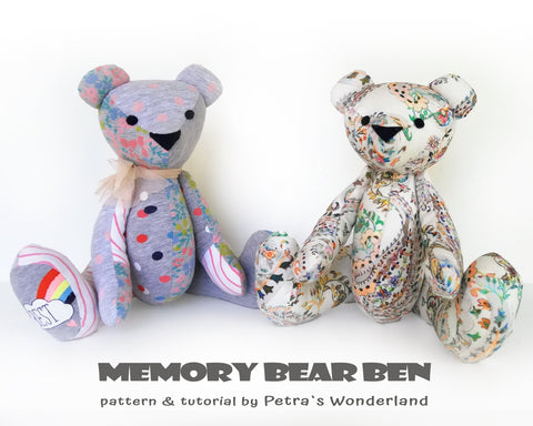 Memory Bear Ben - PDF doll sewing pattern and tutorial