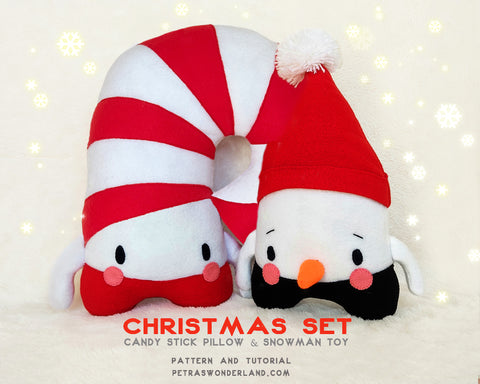 Christmas set of 2 patterns: Candy Stick Pillow and Snowman Toy - PDF toy sewing patterns and tutorials