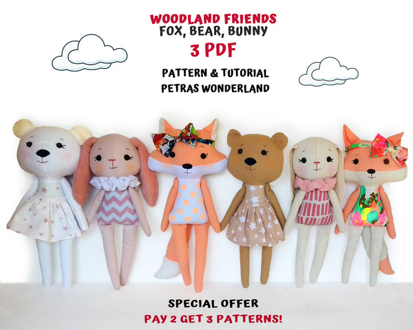 Set of 3 PDF Woodland Friends Bunny, Bear and Fox - Sewing Patterns and Tutorials
