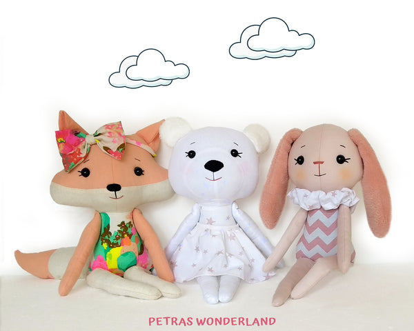 Set of 3 PDF Woodland Friends Bunny, Bear and Fox - Sewing Patterns and Tutorials 01