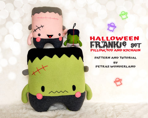Halloween Set of 3 Frankie Pillow, Toy and Keychain - PDF toy sewing patterns and tutorials