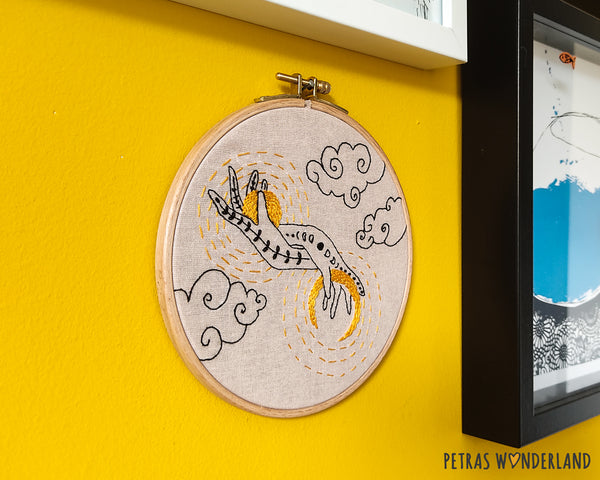 Sun and Moon in my Hands -  PDF embroidery pattern and tutorial 02