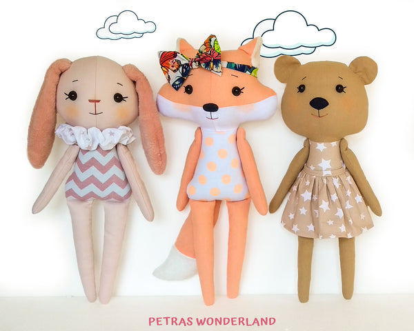 Set of 3 PDF Woodland Friends Bunny, Bear and Fox - Sewing Patterns and Tutorials 02