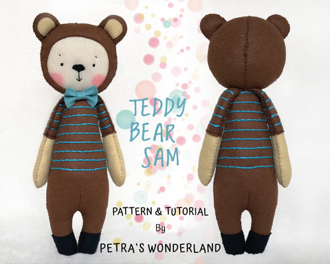Teddy Bear Sam - PDF doll sewing pattern and tutorial