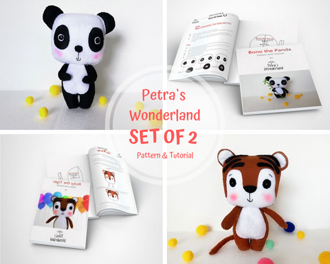 2 PDF Panda and Tiger - PDF Sewing Patterns and Tutorials