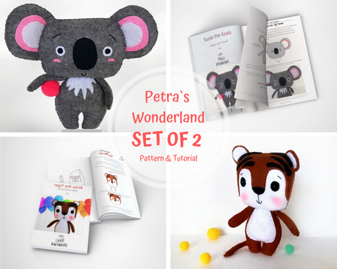 Set of 2 PDF Tiger and Koala - PDF Sewing Patterns and Tutorials