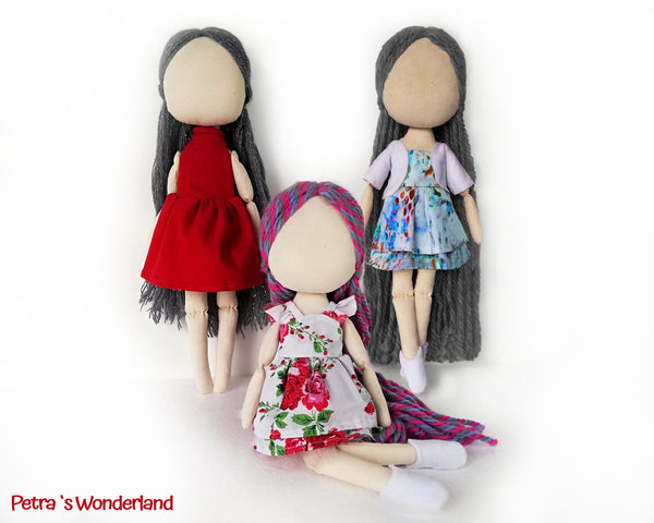 Set of three dresses, jacket and boots for doll 17 inch - PDF sewing pattern and tutorial 04