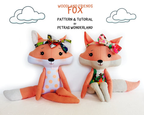 Woodland Friends Fox - PDF doll sewing pattern and tutorial
