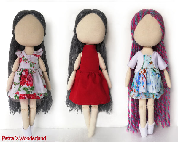 Set of three dresses, jacket and boots for doll 17 inch - PDF sewing pattern and tutorial 05