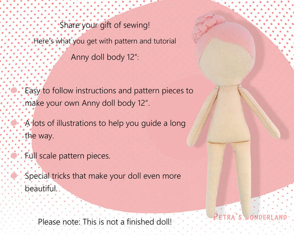 Anny Doll Body 12 inch - PDF doll sewing pattern and tutorial 07