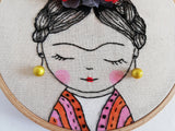 Frida Kahlo - Embroidery Hoop Art 05