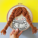 Girl With a Cat - 3D embroidery art hoop 01