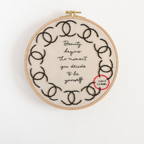 Coco Chanel - Quote Embroidery Hoop