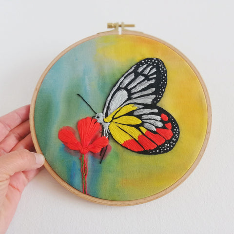 Butterfly - 3D embroidery art hoop