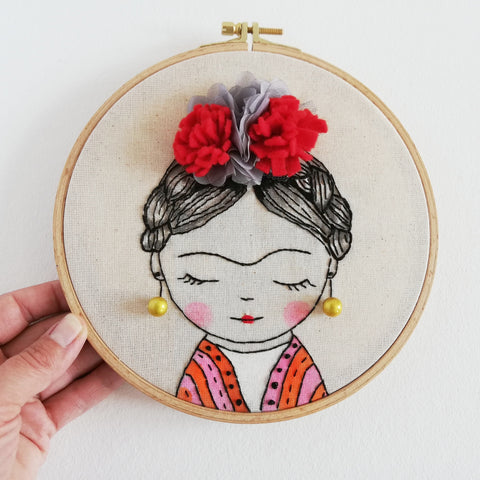Frida Kahlo - Embroidery Hoop Art 01