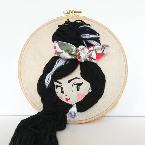 Amy Winehouse - 3D embroidery art hoop