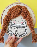Girl With a Cat - 3D embroidery art hoop 02