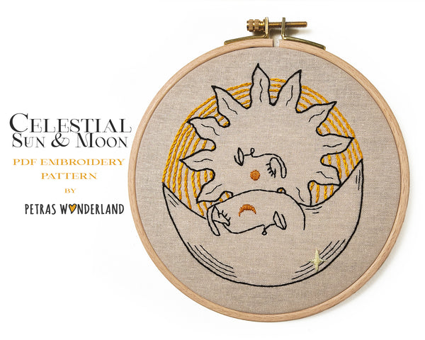 Celestial Sun and Moon - PDF embroidery pattern and tutorial
