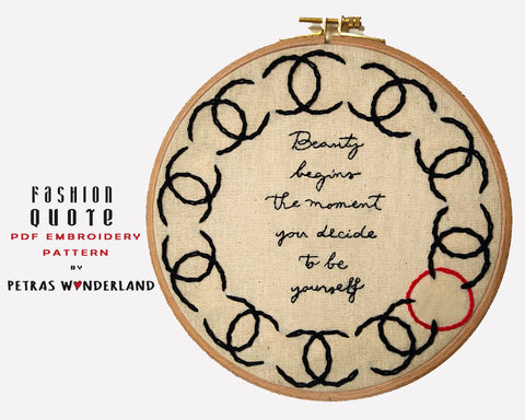 Coco Chanel Quote - PDF embroidery pattern and tutorial 01
