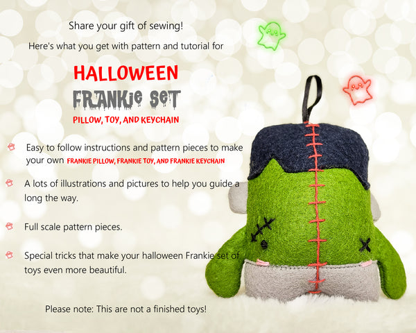 Halloween Set of 3 Frankie Pillow, Toy and Keychain - PDF toy sewing patterns and tutorials 01