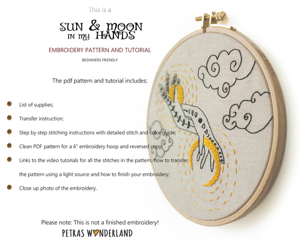 Sun and Moon in my Hands -  PDF embroidery pattern and tutorial 09