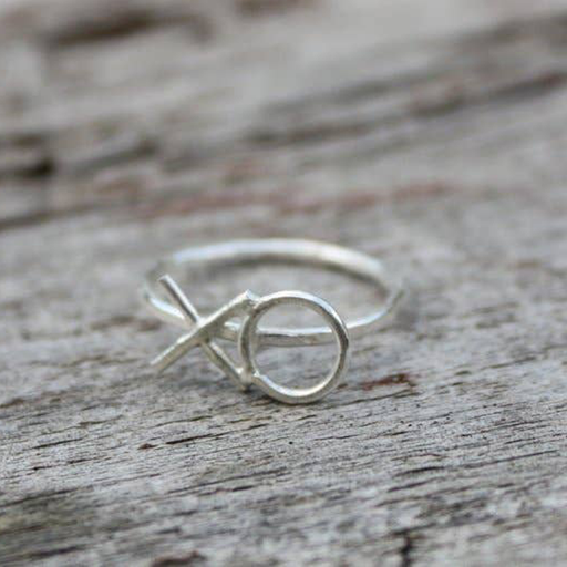 Hug and Kiss Ring - Silver