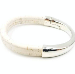 Cork Silver Cuff Bracelet - Pick Your Color