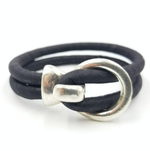 Cork Silver Open Hook Bracelet - Pick Your Color
