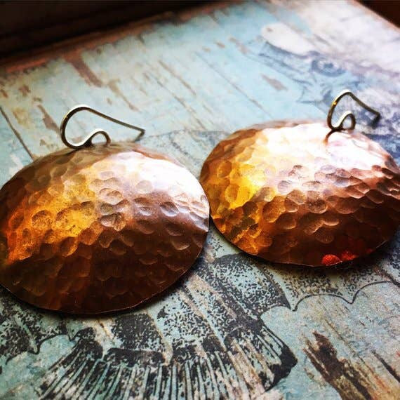 Full Moon Earrings - Hammered Copper