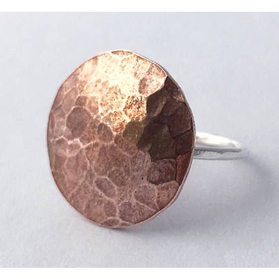 Full Moon Ring - Hammered Copper