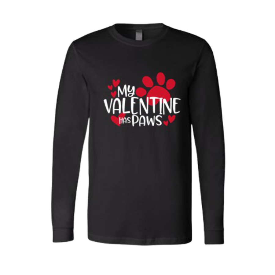My Valentine Has Paws Long Sleeve Tee