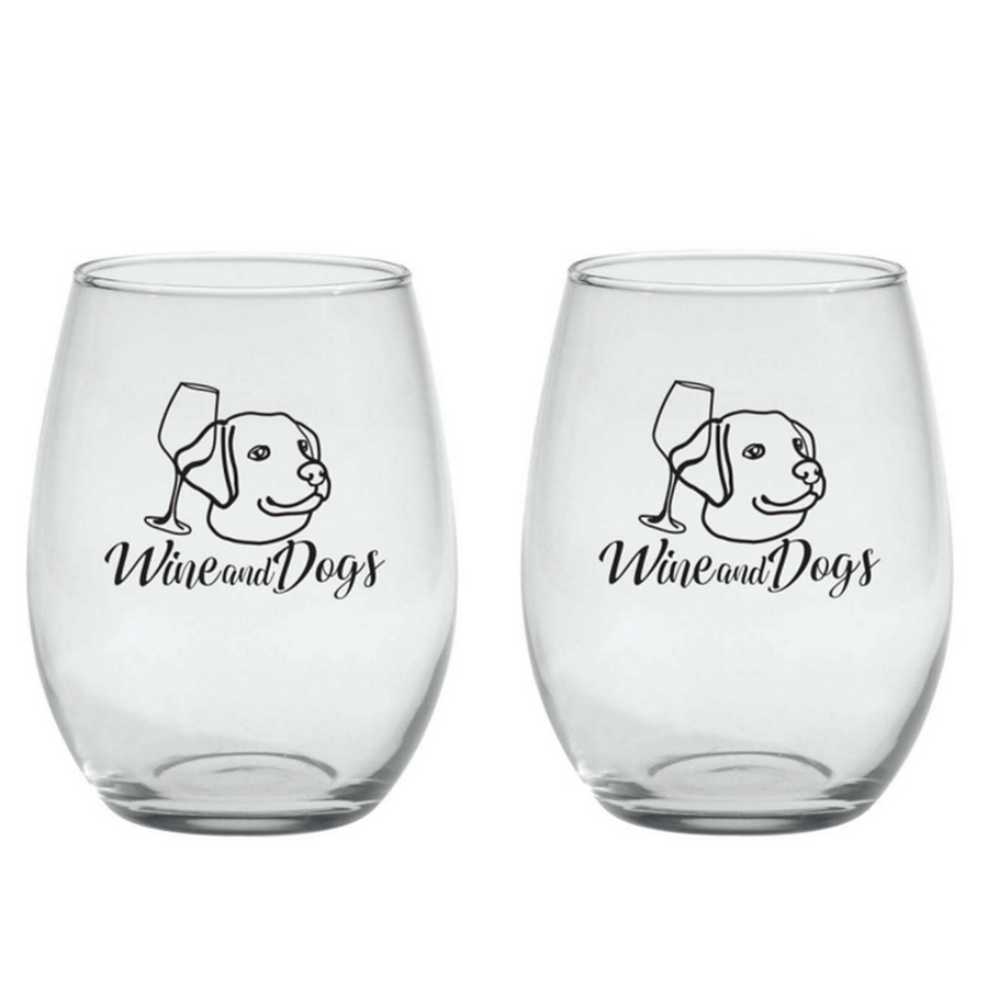 Set of 2 ~ 21oz Stemless Wine Glasses