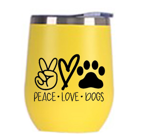 Peace, Love, Dogs Wine Tumbler