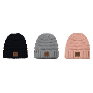 Knit Beanies with Leather Wine & Dogs Patch
