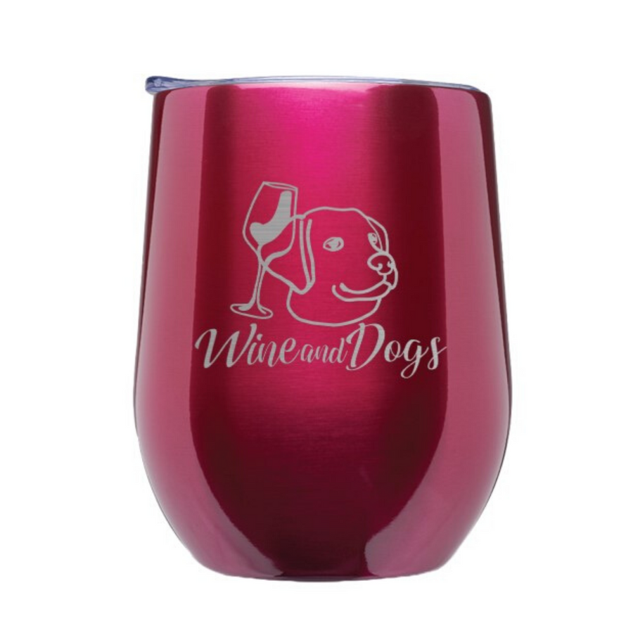 Wine & Dogs Laser Etched Stemless Wine Tumbler