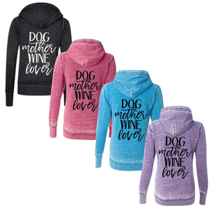 Dog Mother, Wine Lover Super Soft Full Zip Fleece