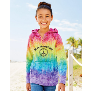 """Be PAWSitive"" Tie-Dye Burnout Hoodie for Kids & Teens!"