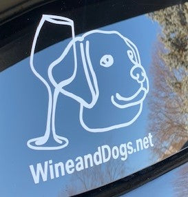 Wine and Dogs Car Decal 5 x 5""