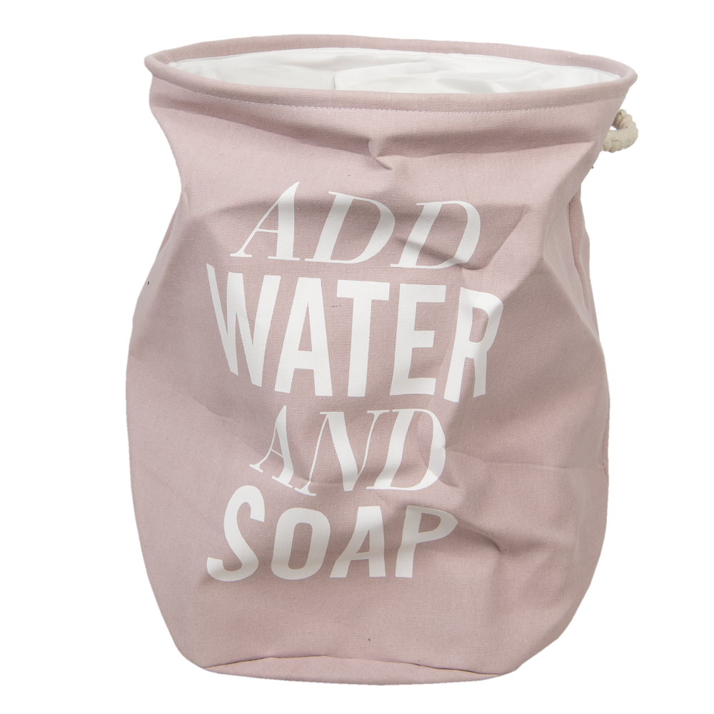 "Katoenen Waszak ""Add Water and Soap"" Ø 40*50 cm - roze/wit"