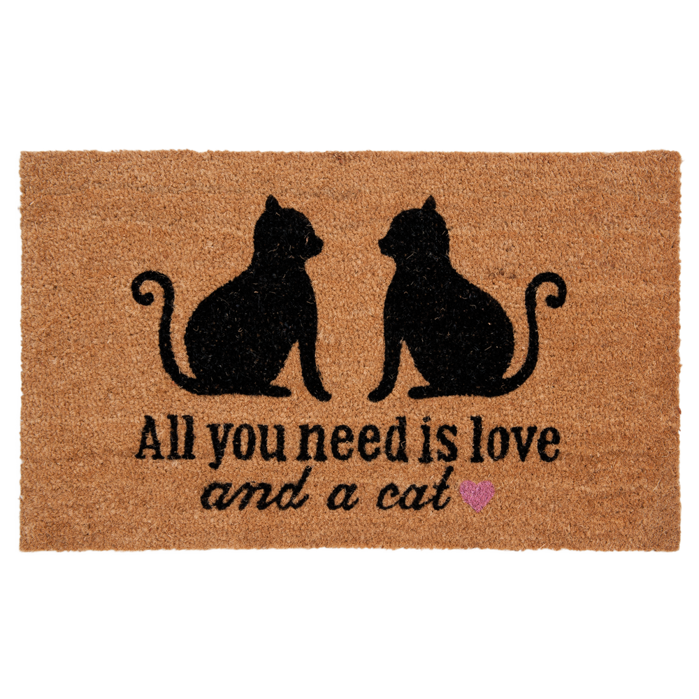 "Kokos Deurmat ""All you need is love and a cat"" 75 x 45 cm"
