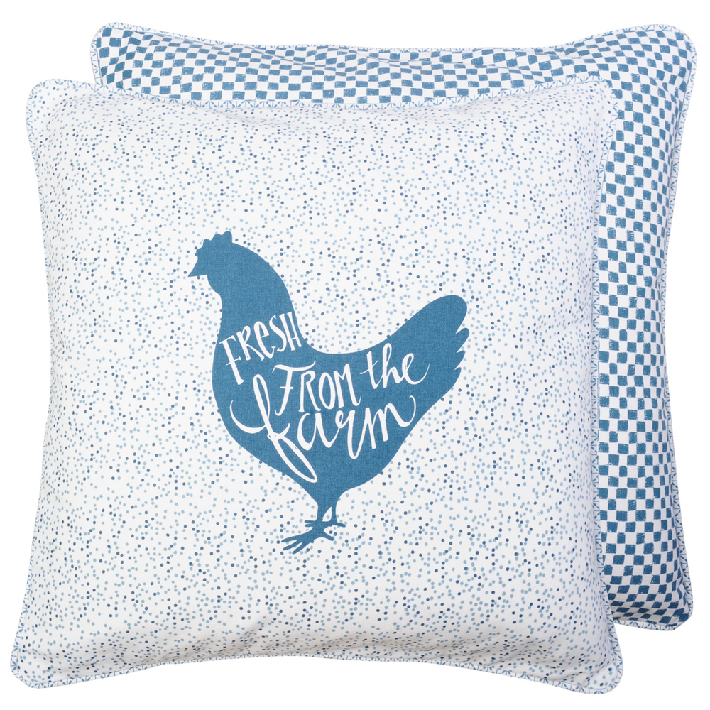 Farm Style Kussen Fresh from the Farm 50 x 50 cm - blauw/wit
