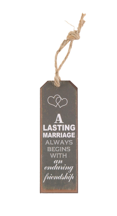 "Huwelijk Decoratie Hanger Tekst ""A lasting marriage always starts with an enduring Friendship"""
